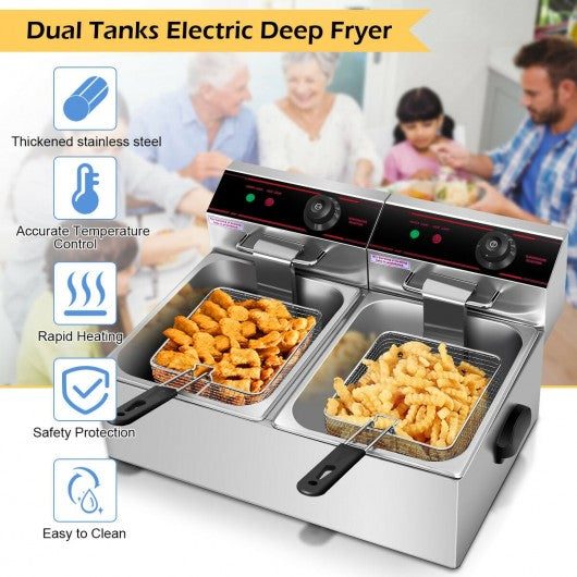 5000W Dual Tank Electric Countertop Deep Fryer