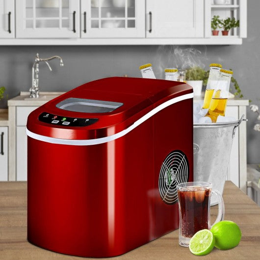 Mini Portable Compact Electric Ice Maker Machine-Red