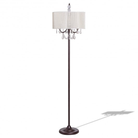 Elegant Sheer Shade Floor Lamp w- Hanging Crystal LED Bulbs