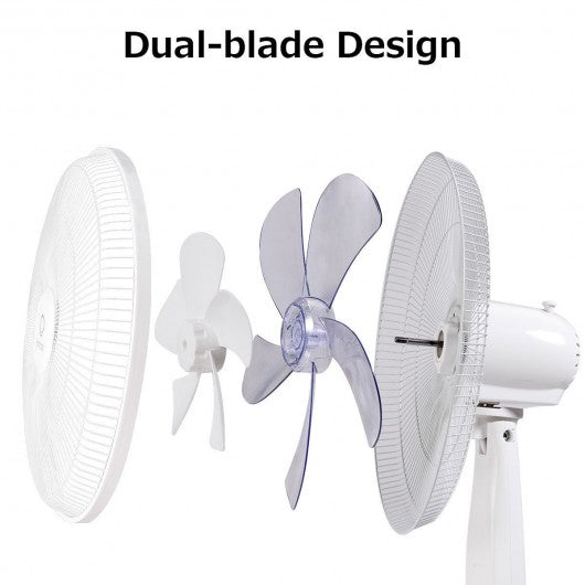 "Fantask 16"" 3 Speed Double Blades Oscillating Pedestal Fan-White"