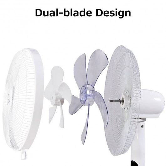 "Fantask 16"" 2 Mode 2 Blades Remote Control Oscillating Pedestal Fan-White"