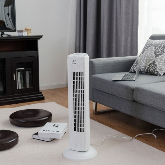 "Fantask 35W 28"" Quiet Bladeless Oscillating Tower Fan-White"