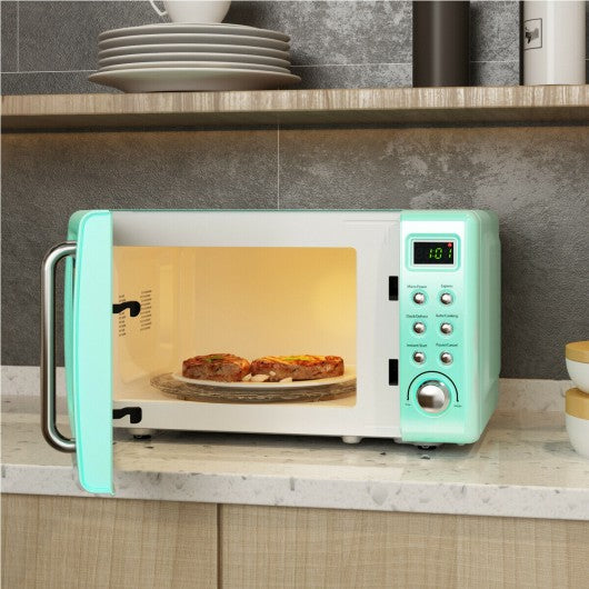 700W Glass Turntable Retro Countertop Microwave Oven-Green