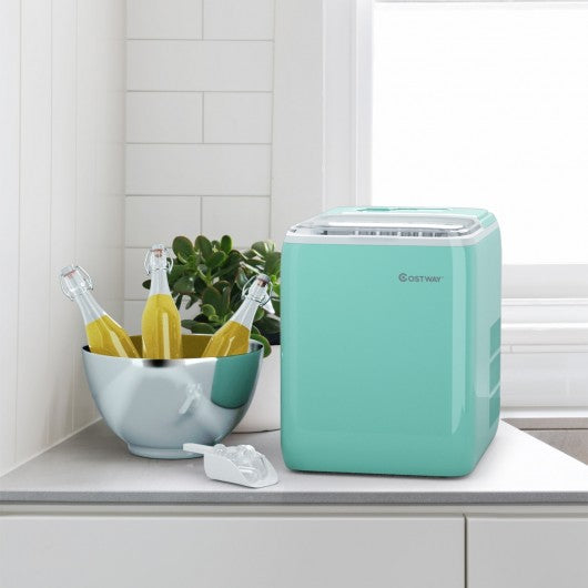 44 lbs Portable Countertop Ice Maker Machine with Scoop-Green