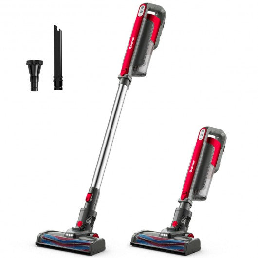 Cordless 6 in 1 Handheld Stick Vacuum Cleaner with Detachable Battery & Filtration-Red