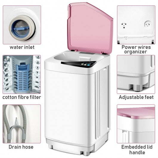 Full-automatic Washing Machine 10 lbs Washer - Spinner Germicidal-Pink