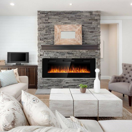 "50"" Electric Fireplace Recessed Ultra Thin Wall Mounted Heater"