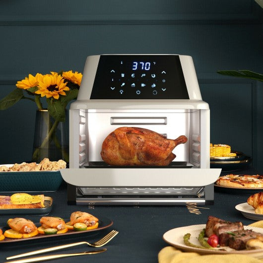 19 QT Multi-functional Air Fryer Oven 1800W Dehydrator Rotisserie-White
