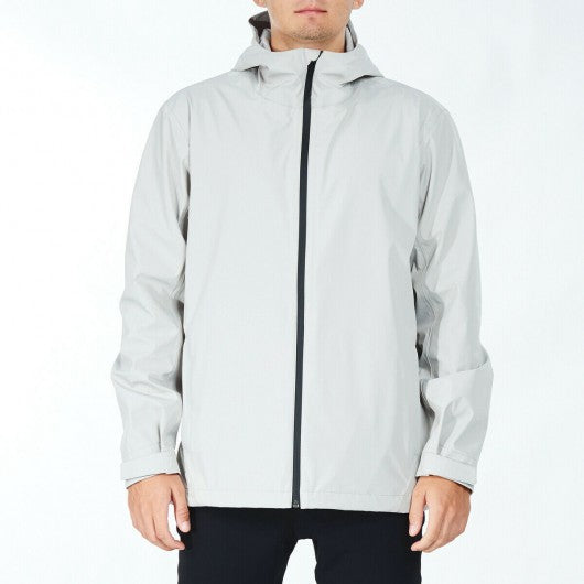 Men's Waterproof Rain Windproof Hooded Raincoat Jacket-Gray-M