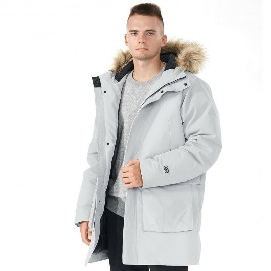 Men's Hooded Insulated Winter Puffer Parka Coat-Gray-XXXL