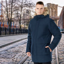 Men's Hooded Insulated Winter Puffer Parka Coat-Navy-M