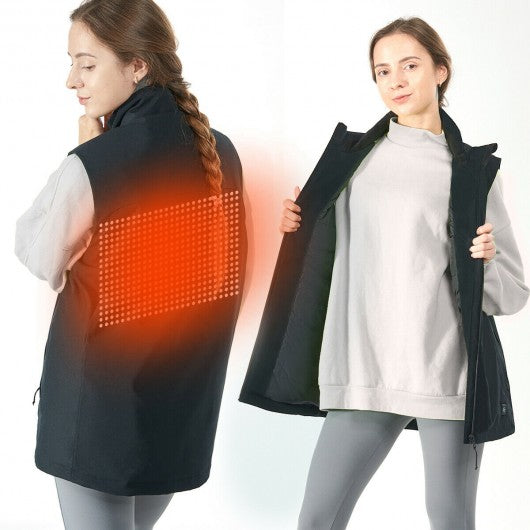 Men' & Women' Electric USB Heated  Sleeveless Vest-Black-XXXL