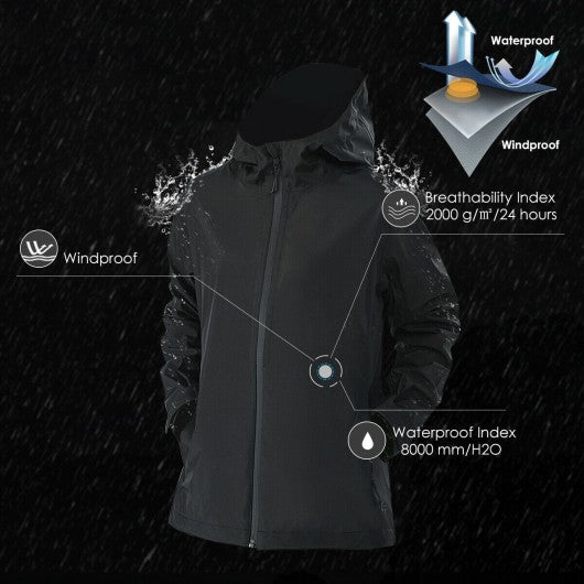Women's Waterproof & Windproof Rain Jacket with Velcro Cuff-Black-XXL