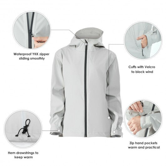 Women's Waterproof & Windproof Rain Jacket with Velcro Cuff-Gray-S