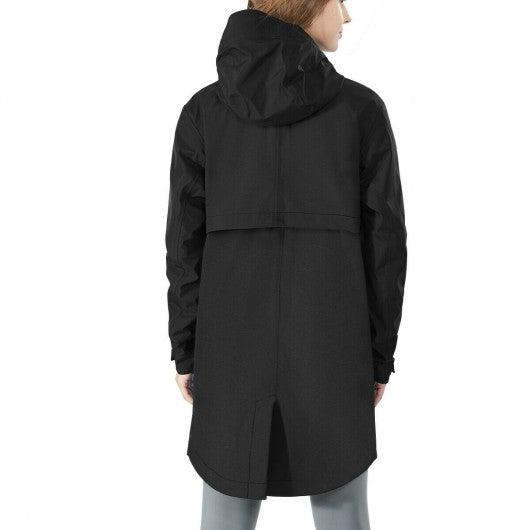 Hooded  Women's Wind & Waterproof Trench Rain Jacket-Black-XL
