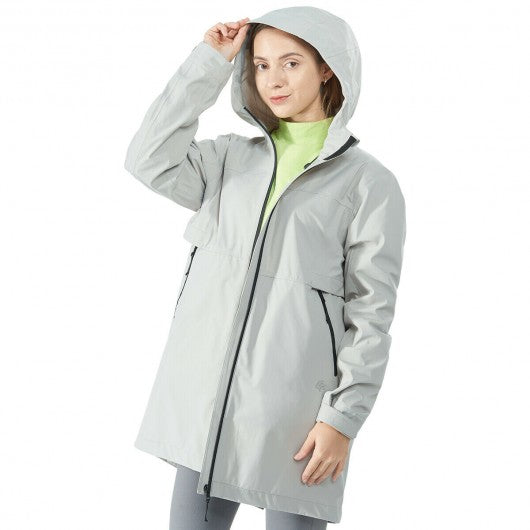 Hooded  Women's Wind & Waterproof Trench Rain Jacket-Gray-L