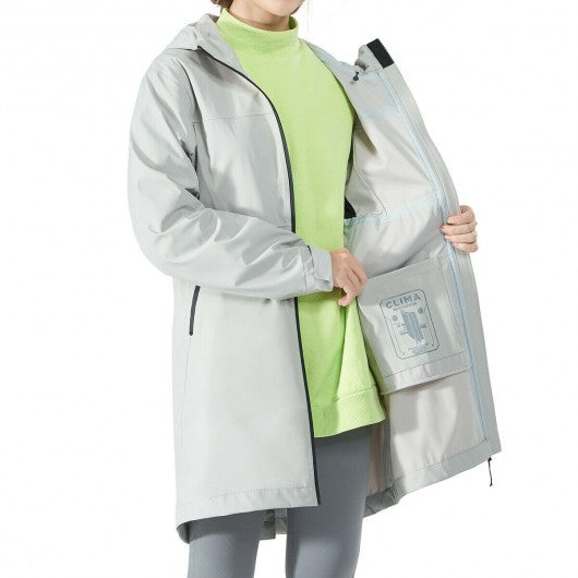 Hooded  Women's Wind & Waterproof Trench Rain Jacket-Gray-XL