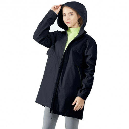 Hooded  Women's Wind & Waterproof Trench Rain Jacket-Navy-XL