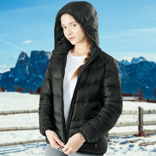 Hooded Electric USB Women's Down Heated Jacket-Black-XL