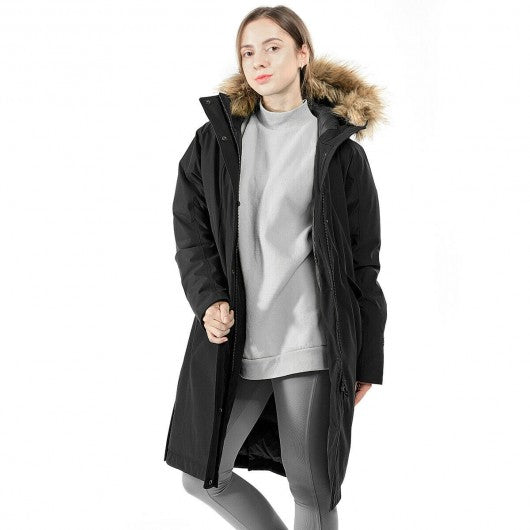 Women's Hooded Long Down Coat with Faux-fur Trim-Black-L
