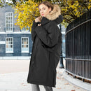 Women's Hooded Long Down Coat with Faux-fur Trim-Black-M
