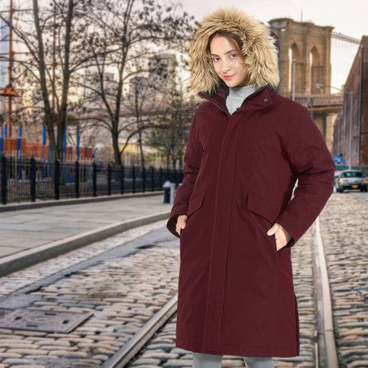 Women's Hooded Long Down Coat with Faux-fur Trim-Red-S