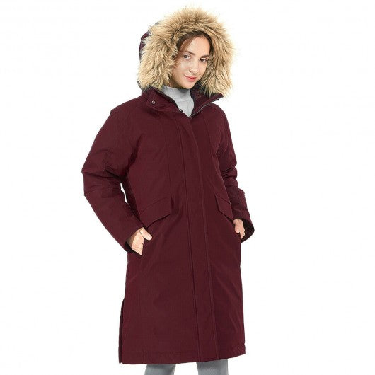Women's Hooded Long Down Coat with Faux-fur Trim-Red-XL