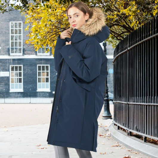 Women's Hooded Long Down Coat with Faux-fur Trim-Navy-L