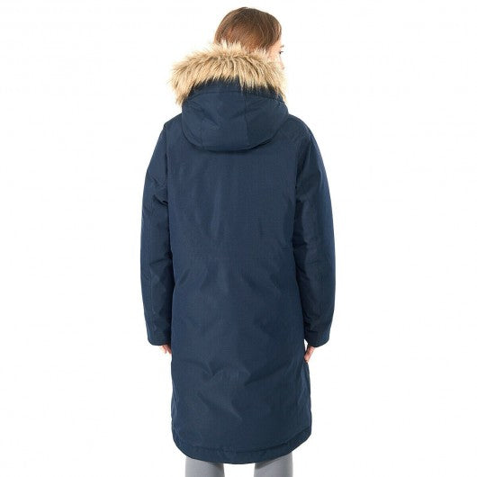 Women's Hooded Long Down Coat with Faux-fur Trim-Navy-M