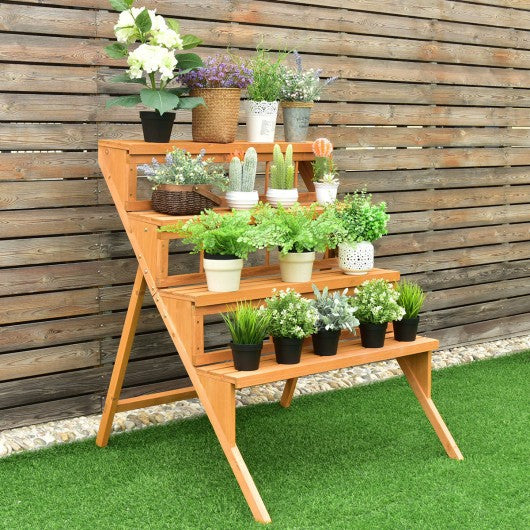 4 Tiers Wood Ladder Step Flower Pot Holder Plant Stand