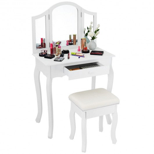Vanity Makeup Dressing Table with Tri-Folding Mirror and Drawer-White
