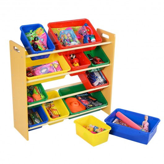 Toy Storage Organizer for kids with 12 Colorful Plastic Bins