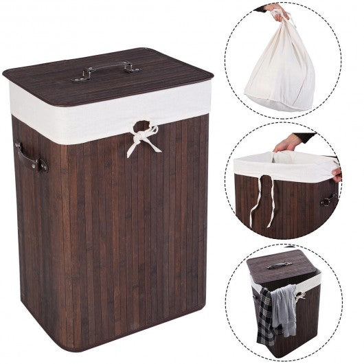 Rectangle Bamboo Hamper Laundry Basket Washing Cloth Bin Storage Bag Lid 3 color-Brown