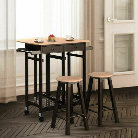 3 pcs Rolling Kitchen Island Cart with 2 Stools