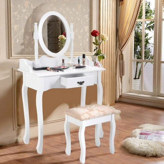 Vanity Makeup Dressing Table Stool Set-White