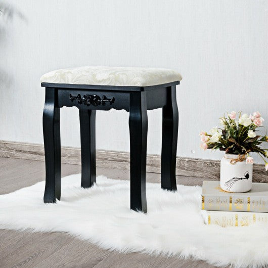 Wood Cushioned Makeup Dressing Stool-Black
