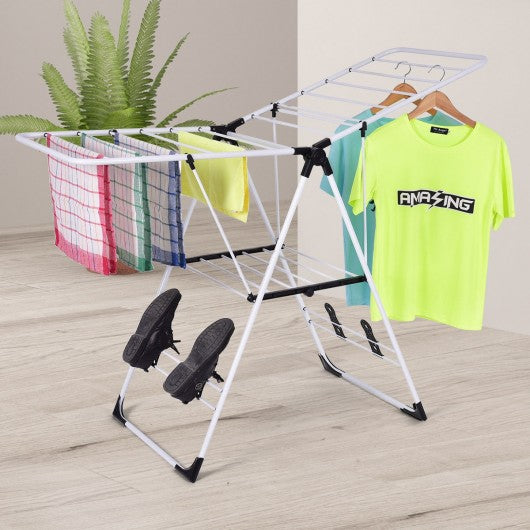 White Portable Laundry Clothes Storage Drying Rack