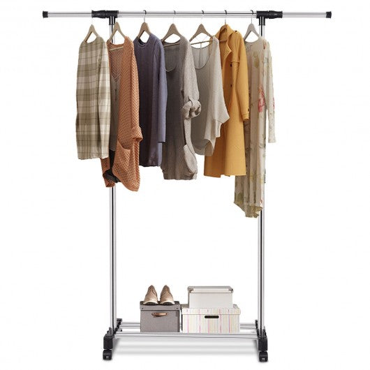 Adjustable Rolling Garment Rack Closet Organizer