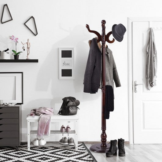 "71"" Wooden Coat Hanger Hat Stand"