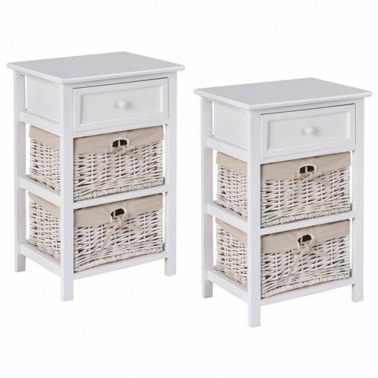 3 Tier Set of 2 Wood Nightstand with 1 & 2 Basket Drawer -White