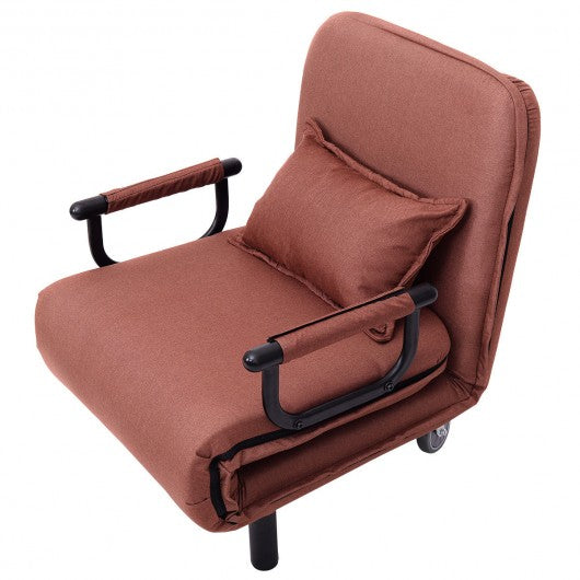 Convertible Folding Leisure Recliner Sofa Bed-Coffee
