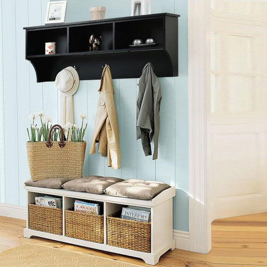 "48"" Entryway Cubbie Wall Mount Storage Shelf w- Hooks-Black"