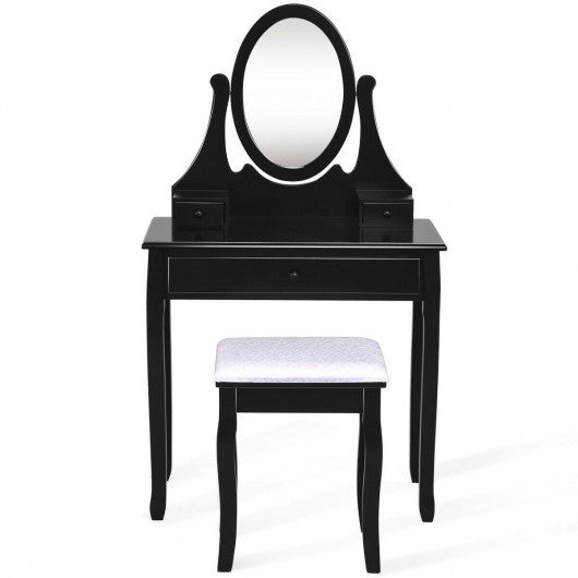 Vanity Wooden Makeup Dressing Table Stool Set -Black
