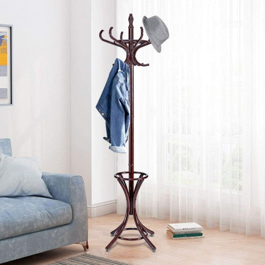 Wood Standing Hat Coat Rack with Umbrella Stand-Brown