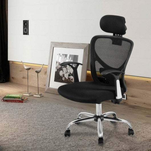 Ergonomic Mesh High Back Office Chair with Headrest-Black