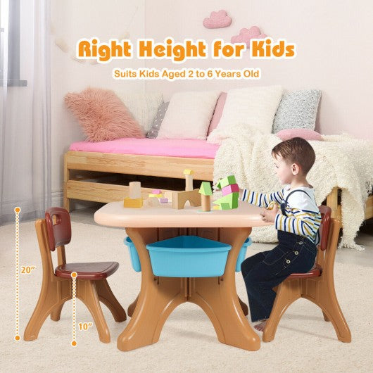 Children Kids Activity Table & Chair Set Play Furniture W-Storage-Coffee