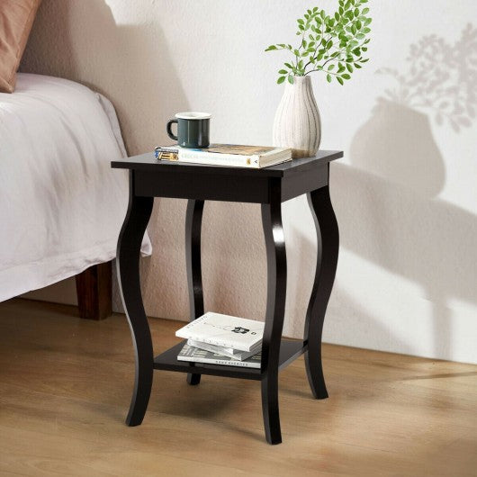 Set of 2 Side Table End Table Night Stand with Shelf-Brown