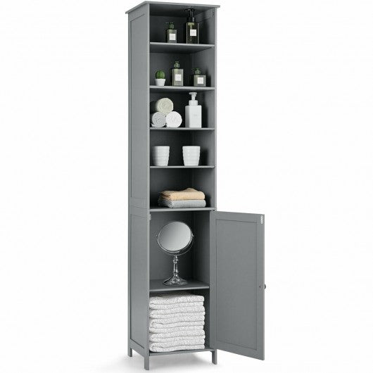72'' Free Standing Tall Floor Bathroom Storage Cabinet-Gray