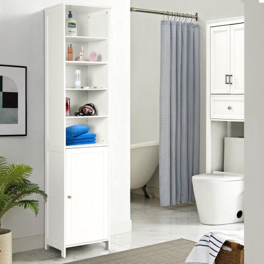 "72"" H Bathroom Free Standing Floor Storage Shelving Cabinet"
