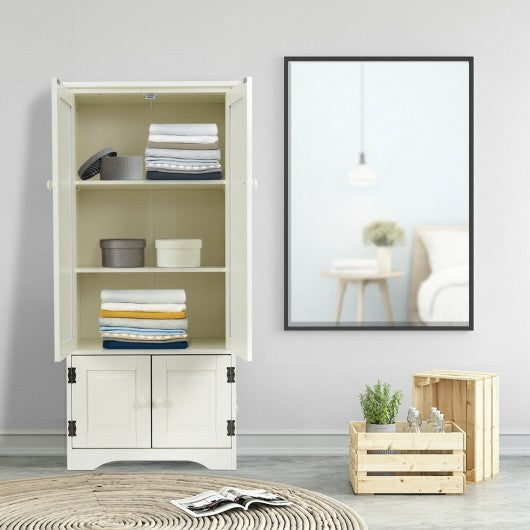 Accent Storage Cabinet Adjustable Shelves-White